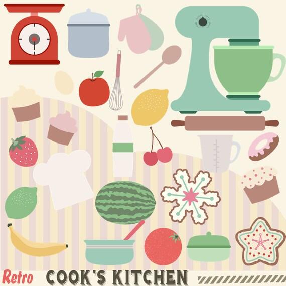 Kitchen Design Clip Art: Retro Cooks Kitchen Clipart 50s Kitchen Cooking Clip Art