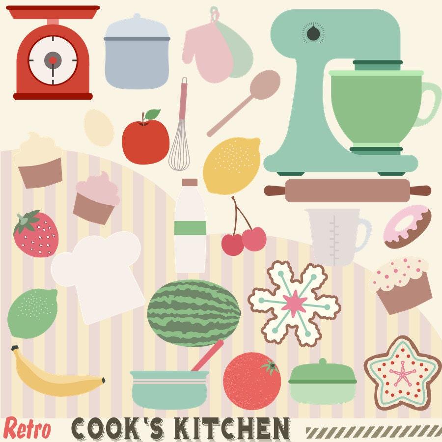 50s Kitchen Art: Retro Cooks Kitchen Clipart 50s Kitchen Cooking Clip Art