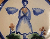 "M A Hadley Art Pottery 6"" Plate, Lady and Flowers"
