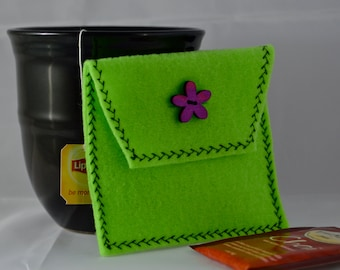 Lime Green Tea Tote, Reusable Tea Pouch, Tea Bag Carrier, Tea Wallet, Tea Bag Pouch, Tea Accessory, Easter Gift