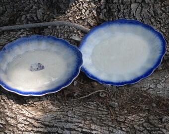 Flow Blue Platters// La Francaise// French China Company// Vintage Blue & White// Antique Flow Blue// Platter//Entertaining//