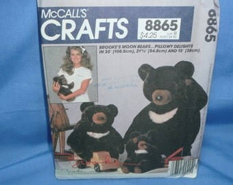 """McCall's 8865, Brooke's Moon Bears, 35"""", 21 1/2"""", and 15"""", Stuffed Toy Pattern"""