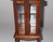 Vintage Wooden Dollhouse Furniture Wood Curio Cabinet