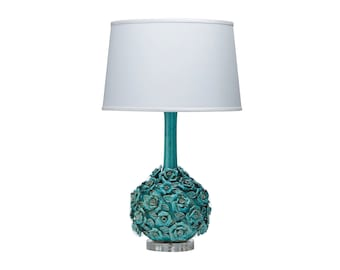 Aqua Ceramic Floral Sculpted Lamp with White Shade