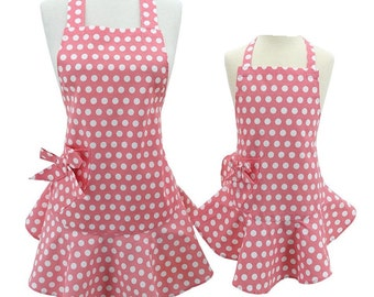 Mother Daughter Apron Set Personalized Pink Polka Dot Jessie Steele- Mommy and Me Apron Set