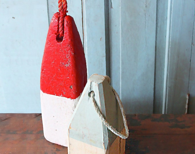 Beach Decor, SET of Blue White and Red White Lobster Buoy, Vintage, Nautical, by SEASTYLE