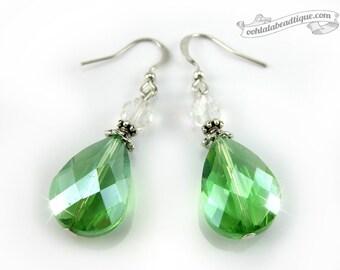 Green Crystal Earrings green dangles birthstone earrings wedding jewelry bridesmaid gift drop earrings gift for her gifts holiday earrings