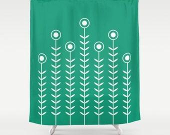 36 colours,  Emerald green, Minimalist Flowers Shower Curtain, Scandinavian style, geometric shower curtains, flower pattern bathroom decor
