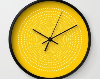 36 colours: Vortex Pattern Wall Clock, White dots wall clock, Geometric Pattern Modern Wall Art, Crocus yellow wall clock