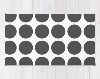 36 colours, Charcoal and White Polka Dot Area Rug 2x3, Bold Polka Dot Throw Rug 3x5, Modern Geometric Rug 4x6