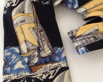 Stafford Silk Necktie - Nautical - Sailing - fashion gift - business casual - co-worker gift - Gentleman Classy - yachting necktie - sailing
