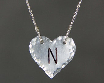 Sterling silver Personalized hammered textured heart intial monogram charm necklace Bridesmaids gifts Free US Shipping handmade Anni Designs