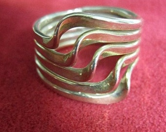 Vintage Sterling Ring, 5 bands together.