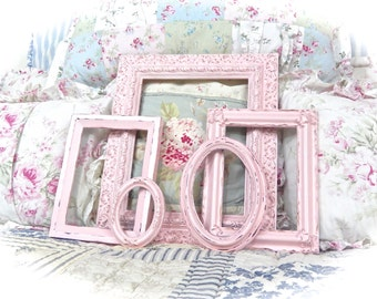 Shabby Vintage Rose Petal Pink Distressed Ornate Picture Photo Gallery Set of 5 Frames Cottage Chic Cream READY TO SHIP