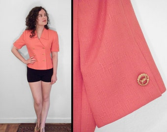 Cropped CORAL Blazer 1990s Kasper Small Gold Buttons