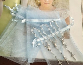 "75 min rosaries and 75 pcs Organza bags, 4"" x 6"" organza bag , favor bag , jewel organza bag blue color"