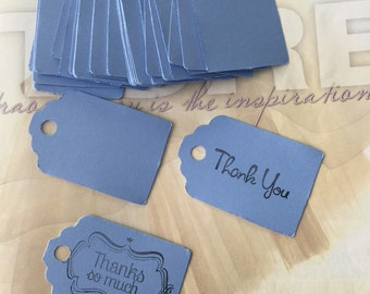 50 blue tags,thank you Tags , Favor Tags, Treat Bag Tags, Product Tags, Hang Tags, Wish Tree Tags, birthday tags,wedding, baptism,communion