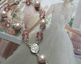 Saint Benedict Swarovski Crystal Pink  rosary bracelet,or, Rear View Mirror.   rosary Bracelet, pink Swarovski Crystal and Cross bracelet,
