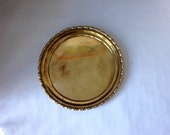 Round Brass Faux Bamboo Serving Tray
