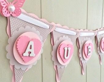 Girl Baby Shower Banner, Butterfly Baby Shower, Pink and Gray Baby Shower Banner, Baby Name Banner, Custom Banner - Made to Order