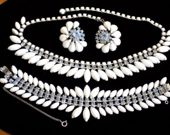 Vintage Necklace, Bracelet & Earring Set Parure White Milk Glass and Blue Rhinestones Wedding Bridal Jewelry Stunning