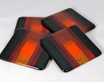 Fused Glass Coasters, Red and Orange Crackle Glass (Quantity 4)
