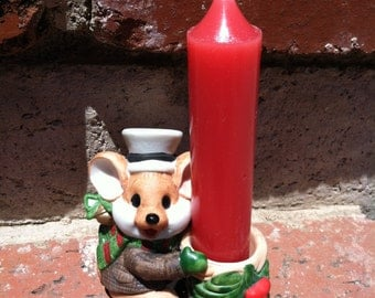 """Vintage 80's  """"CHRIST MOUSE"""" Candle Holder by APPLAUSE with Whimsical Face"""