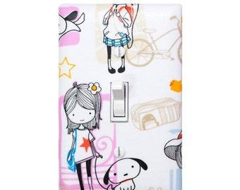Girl with Dog Light Switch Plate Cover /  Tween Girls Room Wall Decor /  Playroom / Japanese Kawaii