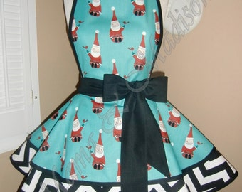 Cute Santa Print Woman's Retro Apron, Accented With Black & White Polka Chevron Print