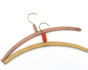 Vintage Set Knitted Hangers 70s, Set of 2 Hangers, Covered Coat Hangers