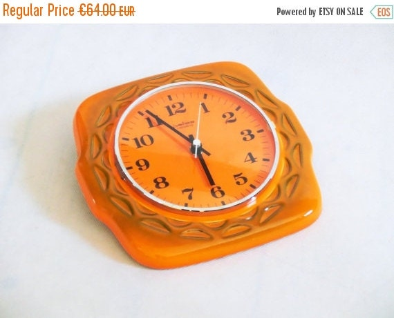 SALE 15% OFF Vintage Wall Clock Vintage Ceramic By