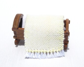 Dollhouse Baby Blanket Miniature Handwoven Yellow Small Rug Dollhouse Crib Blanket Tiny Doll Blanket Mini Yellow Doll Blanket Hand Woven