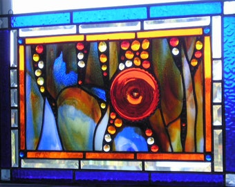 Stained Glass Art Panel|Orange|Cobalt|Abstract Stained Glass|OOAK|Art and Collectibles|Glass Art|METS Colors|Handcrafted|Made in USA