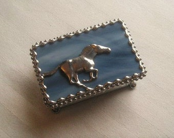 Horse|Stained Glass Jewelry Box|Trinket Box|Horse Galloping|Blue|Jewelry|Jewelry Storage|Handcrafted|Made in USA