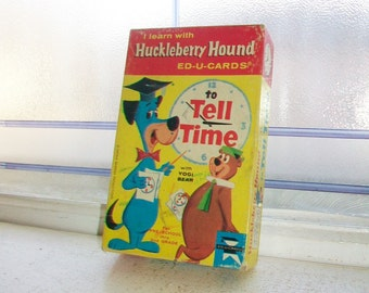 Vintage Huckleberry Hound Flash Cards How To Tell time Circa 1961