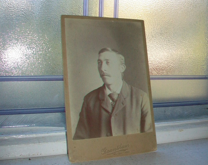 Antique Cabinet Card Photograph Victorian Man with Mustache 1800s