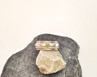 Peridot Ring - Mixed Metal Ring - Wide Silver Ring
