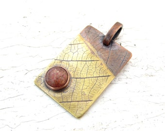 Sunstone Pendant Leaf Pattern Copper and Brass Rectangle Mixed Metal Necklace - MADE TO ORDER
