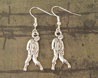 Silver Plated Zombie Walker Earrings From The Walking Dead Zombie Apocalypse - Halloween Zombie Jewellery