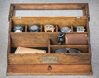 Personalized  Men's Valet and Watch box with Drawer and glass top - Holds 5 watches