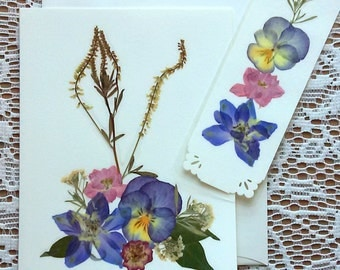 PRESSED FLOWERS Greeting Card and Bookmark Gift Set - Colorful Preserved Garden Flowers Blank Stationary, Special Occasion Card, Friend Gift