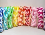 Reusable Straws BPA Free Eco Friendly Striped Straws, Summer Time,  10 For DIY Tumblers Make Your Own Mason Jar Cup, Wedding Favors