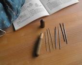 Antique sewing needle holder wood case embroidery needle holder vintage needle case antique sewing kit