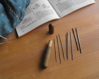 Antique Wood Needle Holder Case embroidery needle holder