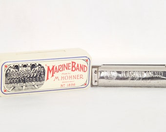 Hohner Marine Band Harmonica No. 1896 Germany Plastic Case Key C A440
