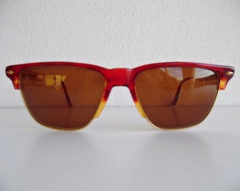 VOGUE ITALY . Red Amber Sunnies Shades Sunglasses Glasses Sun Cheaters 80s