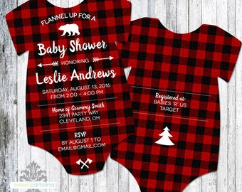 Lumberjack Baby Shower Invitation | Buffalo Plaid Invitation | Flannel Baby Shower | Printed Die Cut Invitation | Baby Bodysuit | Set of 25