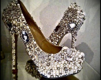 Crystal Shoes Pearls & Diamonte