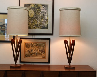 Mid Century Modern danish, wood lamps (2)