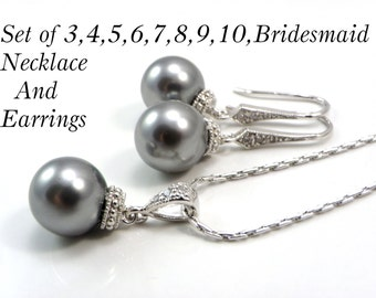 Bridesmaid Gift Necklace and Earrings Set of 3,4,5,6,7,8,9, Pearl Necklaces Swarovski Pearls Wedding Bridal Jewelry Bridesmaid Set Gift